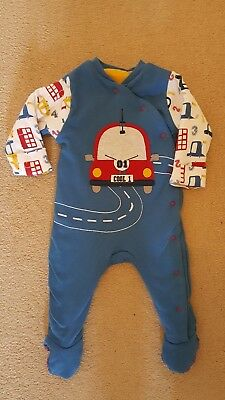 Mothercare 3-6 months cars and buses design winter sleep snuggler padded suit