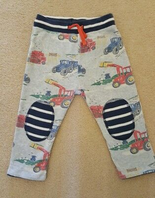 Boden Baby boys reversible 12-18 months joggers trousers striped / tractors
