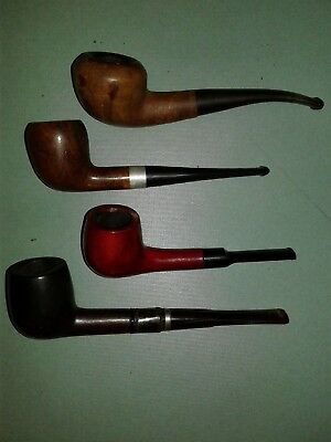 Lot of 4 Vintage Unbranded Smoking Tobacco Estate Pipes