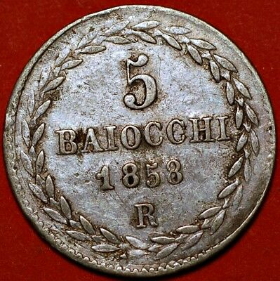 Italy. Papal States. 5 Baiocchi 1858 R.