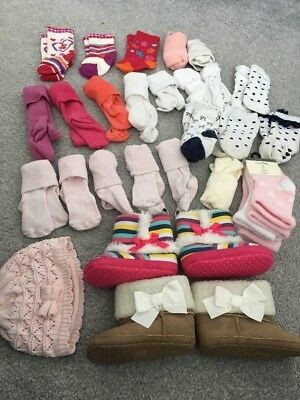 Girls Big Sock Bundle x25 Pairs, 0-3 Months & Booties And Hat