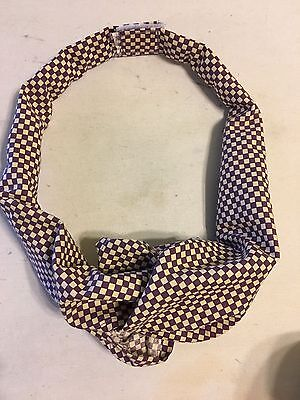 McDonald's Managers Tie Ascot Purple And Off White Squares