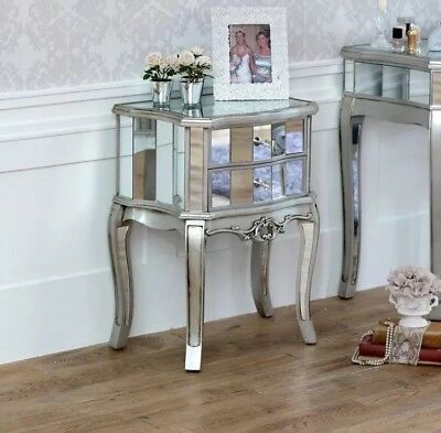 Mirrored Venetian bedside cabinet lamp table bedroom furniture silver glass