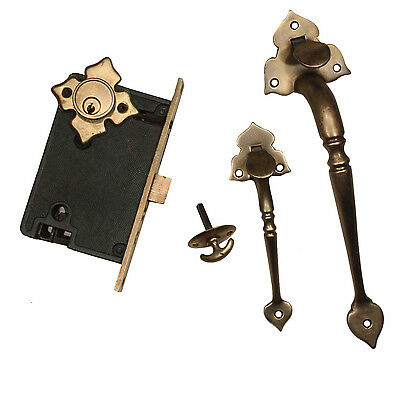 Complete Antique Double Handle Thumb Latch Set with Lock, Signed Welch, NDKS341