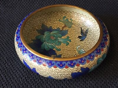 Vintage Chinese Brass And Enamel Cloisonne Bowl