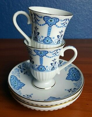 Avon European Tradition Florence Set of 2 Blue White Demitasse Cups & Saucers
