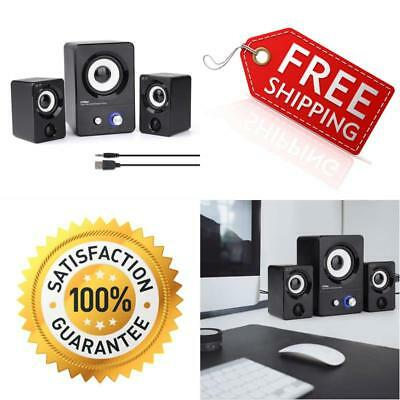 USB Powered Computer Speakers With Subwoofer System PC Laptop 2.1 Stereo Black