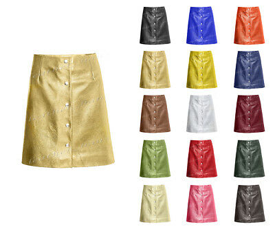 d88883e9e7 Luxury Genuine Leather Sexy Ladies Mini Skirt with Press-Studs Down at  Front S15