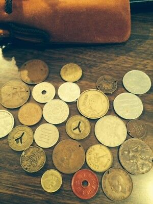 Lot Of 23 Pcs. Tokens And Foreign Coins