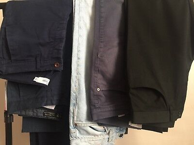 Bundle of 5 Pairs Mens casual trousers from Next, Burton and Topman, size 32/34
