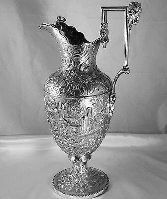 Samuel Kirk Silver Castle Pattern Ewer, Of Christian  & Chinese Interest