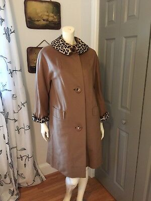 Vintage 1960s Tan Wool Coat Leopard Print Collar And Cuffs Dee Dee Deb Imperial