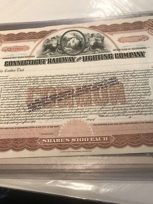 Connecticut Railway and Lighting Company Stock Certificate
