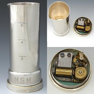 "Vint. Napier Silver Plate Musical Liquor Jigger, Reuge Music Box: ""How Dry I Am"""