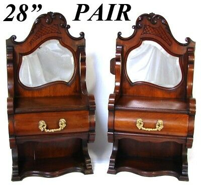 "PAIR Antique Victorian 28"" Wall or Table Chests, Great Bru Doll Size Furniture"
