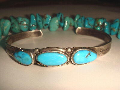 Vtg. Fred Harvey Era Old Pawn Navajo Ster. Silver Turquoise Arrow Cuff Bracelet
