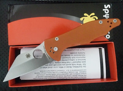 New Box C85 Orange Spyderco Pocket Knife Camping Folding Knife Self Defense A882