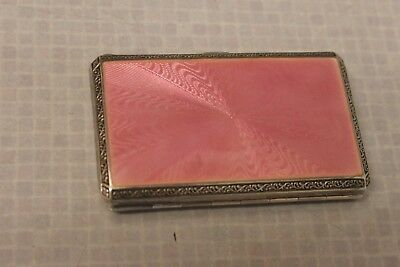 vintage silver and Guilloche  enamel art deco cigarette case