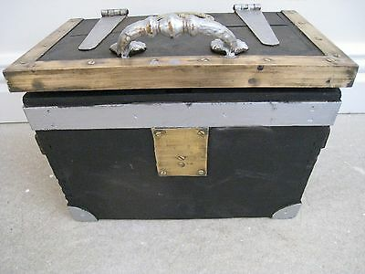 vintage wooden TREASURE  BOX   chest.has a crack along the top- fab catches- FAB