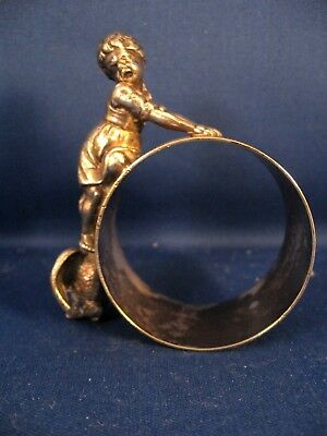 Vintage Figural Silverplate Girl And Goose Napkin Ring