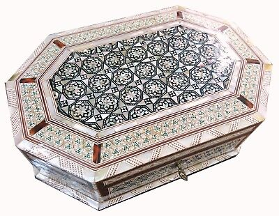 J71 Gorgeous Mother Of Pearl Mosaic Trinket Octagonal Egyptian Chest Jewelry Box
