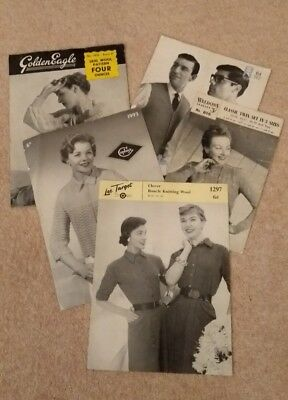 VINTAGE KNITTING PATTERNS - Mixed lot of 5