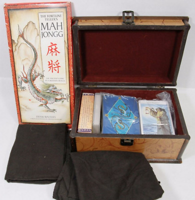 3 Decks Of Tarot Cards & Wooden Box Incl Fortune Telling Card, Majong Game