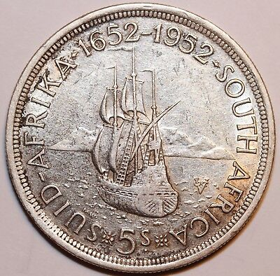 5 Shillings South Africa 1952 Km#41 Silver Coin    #gbs501