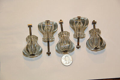 5 Vintage Clear Glass Large Knobs & Screws
