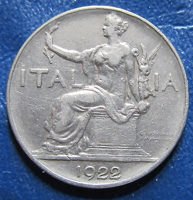1922 R Italy 1 One Lire Coin
