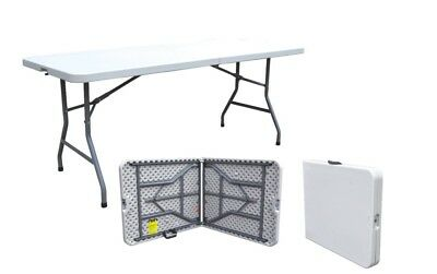 2 x HEAVY DUTY FOLDING CAMPING TABLE TRESTLE PLASTIC PICNIC BBQ GARDEN  6FT