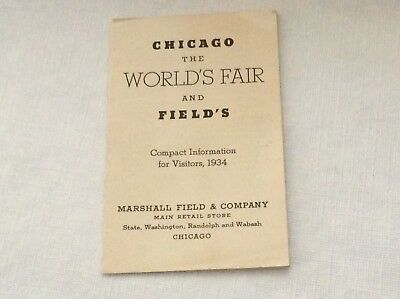 Marshall Field & Co The Chicago Worlds Fair Compact Info For Visitors 1934