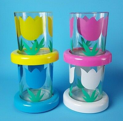 Paradise Beach Club Vintage Acrylic Tulip Tumbler Cups 4 Glasses NEW Set in Box