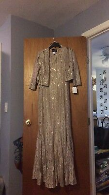 Gold Lace Gown With Match Jacket