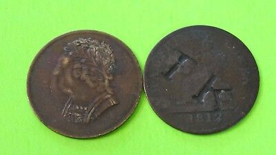 1812 & 1820 Irish Coppers 1-Counter Stamped.