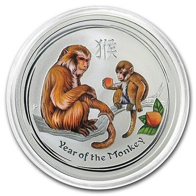 2016 ~ PURE .999 SILVER ~ 1/2~Z~ YEAR of the MONKEY ~ COLORIZED ~CAPSULE~ $27.88