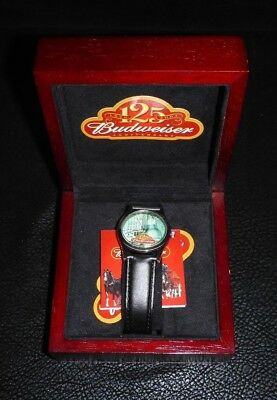 New In Box Collectible 2001 Budweiser 125th Anniversary Black Leather Wristwatch