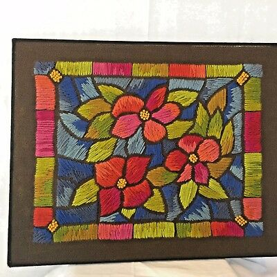 Completed Crewel Work Fantasia Through A Stained Glass Window # 0831 by Paragon