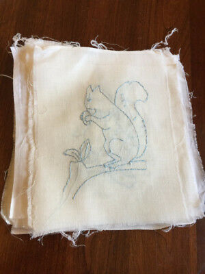 18 Antique Unused Quilt Squares White Cotton Figural Embroidery in Lt Blue 6X7
