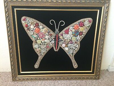 Vintage 1960s Framed Costume Jewelry Collage Art Wall Hanging Retro, Great shape