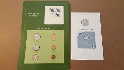 1981-1984 Republic of Iceland coins set of all nations,+ descriptive sheet!!