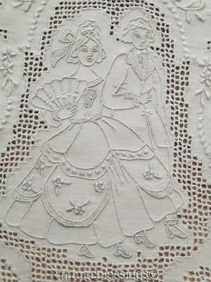 Antique Swiss Appenzell FINE Embroidered Bridal Figural TABLECLOTH Wedding