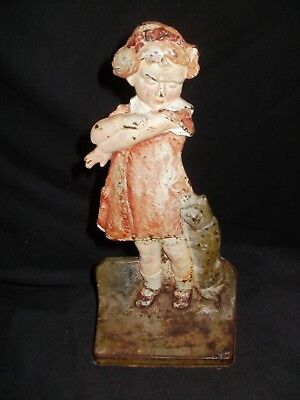 ANTIQUE CASTIRON DOORSTOP, GIRL SCRATCHED BY CAT, ODIOUHY, PAINTED, ca: 1900