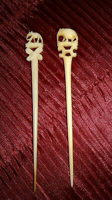 Vintage Asian  Antique Chinese Toothpicks Finely Carved Elephants