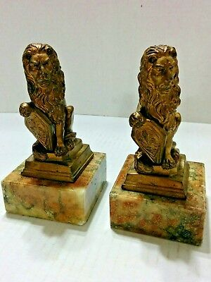 "Vintage Pair of  Brass Lion Bookends Marble Base 5 1/4"" tall"