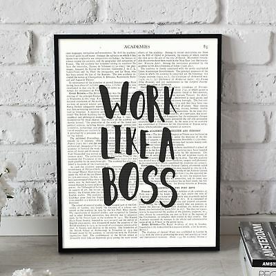 Work Like A Boss quote On Vintage Dictionary Book Page Art Print Antique Large