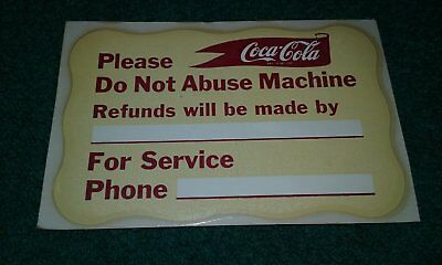 New old stock -Coca-Cola machine decal