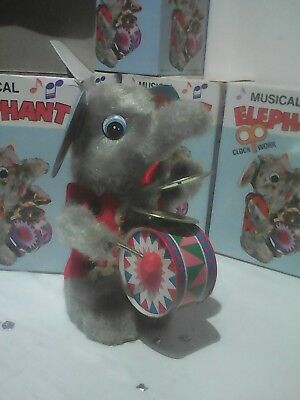 tin toy Clock work Musical Elephant. New Old Stock 50s-60s Hong Kong Work