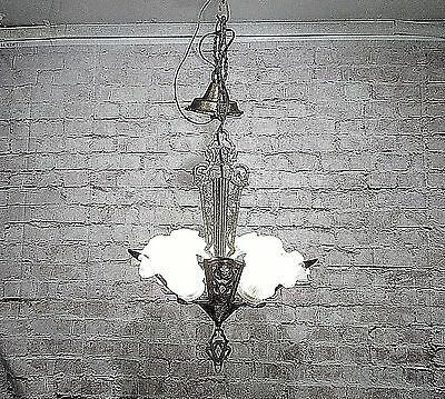 Antique Vintage Chandelier Art Deco glass Shade Light Fixture  Pendant Lamp