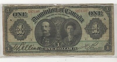 1911 Dominion Of Canada Large One 1 Dollar Canadian Circulated Banknote A